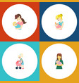 flat icon mam set of woman parent child and vector image