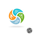 four natural elements logo fire water air wind vector image