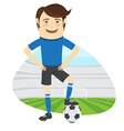 Funny soccer football player wearing blue t-shirt vector image