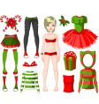 girl with Christmas dresses vector image vector image