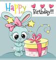 greeting card cute rabbit vector image