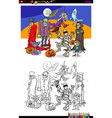 halloween with scary characters color book vector image vector image