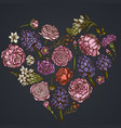 heart floral design on dark background with peony vector image