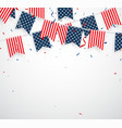 independence day with american confetti and ribbon vector image vector image