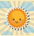 kawaii sunny clouds sky cartoon weather vector image