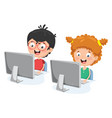 kids with computer vector image vector image