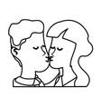 line cute couple kissing a romantic scene vector image vector image