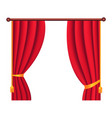 long silk red theater curtain hangs on cornice vector image vector image