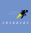 man with jet pack flying ahead of everybody else vector image vector image