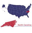 north carolina map counties with usa map vector image