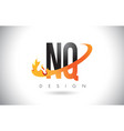 nq n q letter logo with fire flames design and vector image
