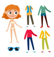 paper doll of girl and hipster clothes isolated on vector image