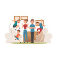 parents meditating while his mischievous sons vector image vector image