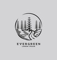 pines tree forest and road way vintage logo design vector image vector image