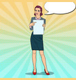 pop art business woman pointing on paper sheet vector image vector image