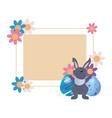 rabbit eggs label easter vector image vector image