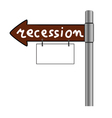 recession on signboard color vector image