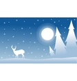 Silhouette of spruce deer wityh moon Christmas vector image vector image