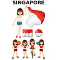 Singapore flag and woman athlete vector image vector image