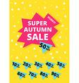 Super autumn sale banner vector image vector image