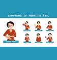 symptoms of hepatitis a b c set character vector image vector image