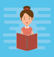 teacher female with school book vector image