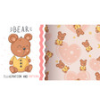 teddy cute bear - seamless pattern vector image