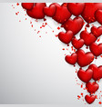 valentine s background with hearts and confetti vector image vector image