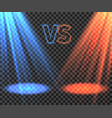 versus battle futuristic screen with blue and red vector image