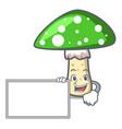 with board green amanita mushroom character vector image vector image