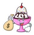 with money bag ice cream sundae character cartoon vector image vector image