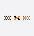 x letter set logo orange black icons vector image