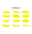 yellow watercolor hand drawn highlight set vector image vector image