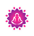yoga logo template man meditating over lotus vector image