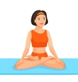 Young girl sitting in lotus posture practices yoga vector image