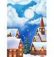 Christmas background Christmas village vector image