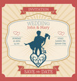 wedding invitation card with just married vector image