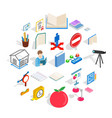 academy icons set isometric style vector image