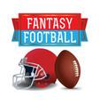 american fantasy football ball helmet and banner vector image vector image