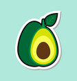 avocado sticker on blue background colorful fruit vector image