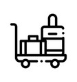baggage cart with valise thin line icon vector image vector image