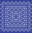 blue handkerchief with white ornament vector image vector image