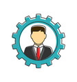 businessman in gear flat line icon vector image vector image
