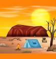 camping in desert scene vector image