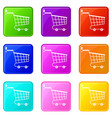 cart icons 9 set vector image vector image