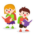 children with school bag reading books vector image