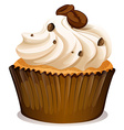 Chocolate topping cupcake on white vector image vector image