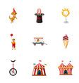circus festival icons set cartoon style vector image