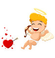cupid hit target and is happy on a white vector image vector image