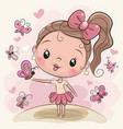 cute cartoon girl with butterflies vector image vector image